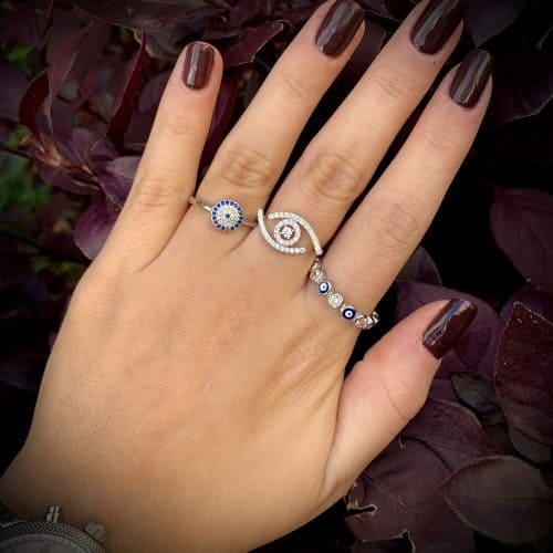 טבעת כסף 925  עיניים כחולות מזל עבה