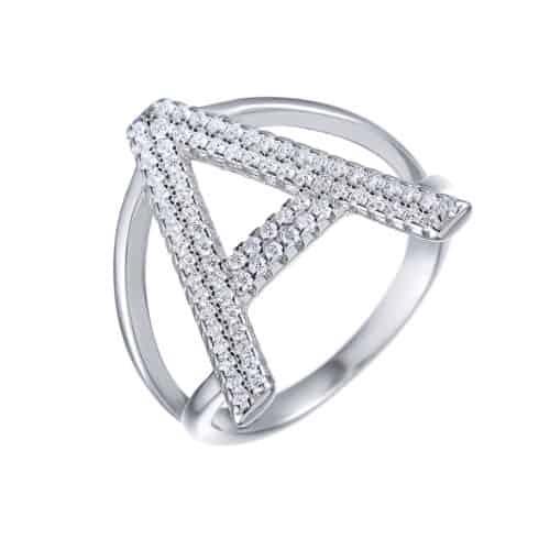 טבעת כסף 925 אות משובצת