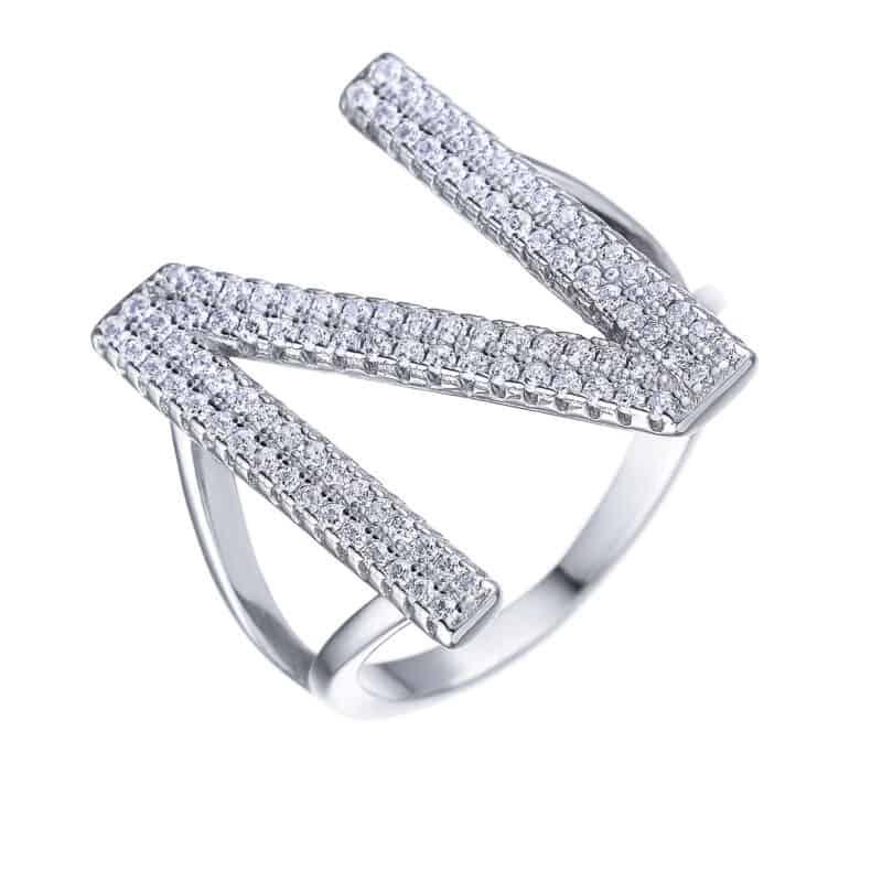 טבעת כסף אות גדולה באנגלית