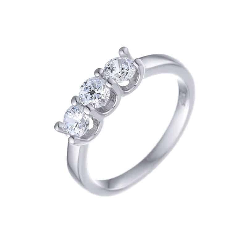 טבעת כסף יהלומים לאישה