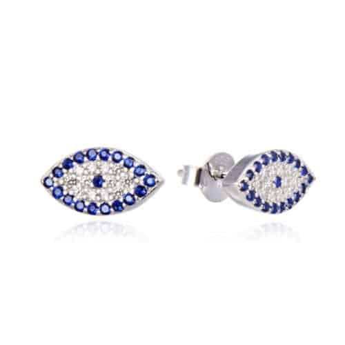 עגילי כסף 925 עין כחול לבן