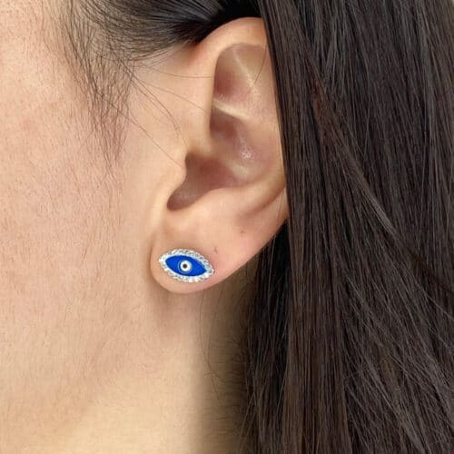 עגילי כסף 925 עיניים כחול מלא
