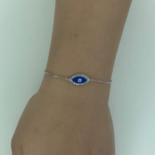 צמיד כסף 925 עין כחולה מלאה