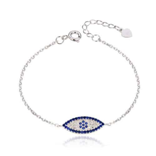 צמיד כסף 925 עין כחול לבן