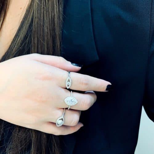 טבעת כסף עין אדל
