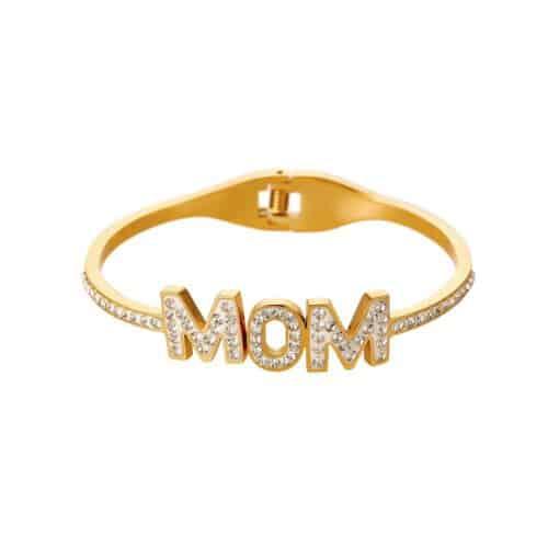 צמיד MOM קשיח מפלדת אל-חלד בצבע זהב