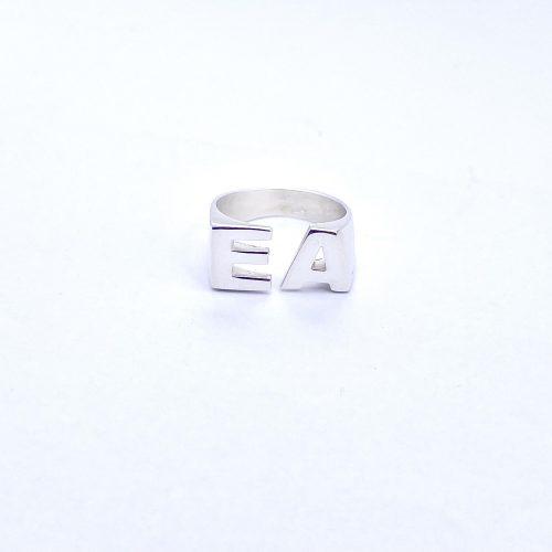 טבעת כסף 925 אותיות טווין