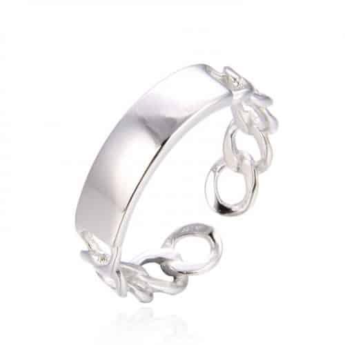 טבעת כסף מונקו 925 עם חריטה אישית