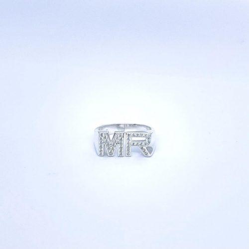 טבעת כסף 925 אותיות ספרקל טווין