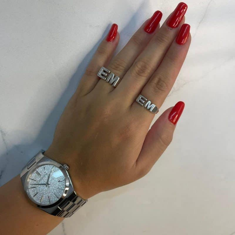 טבעת כסף 925 אותיות טוויסט טווין 2