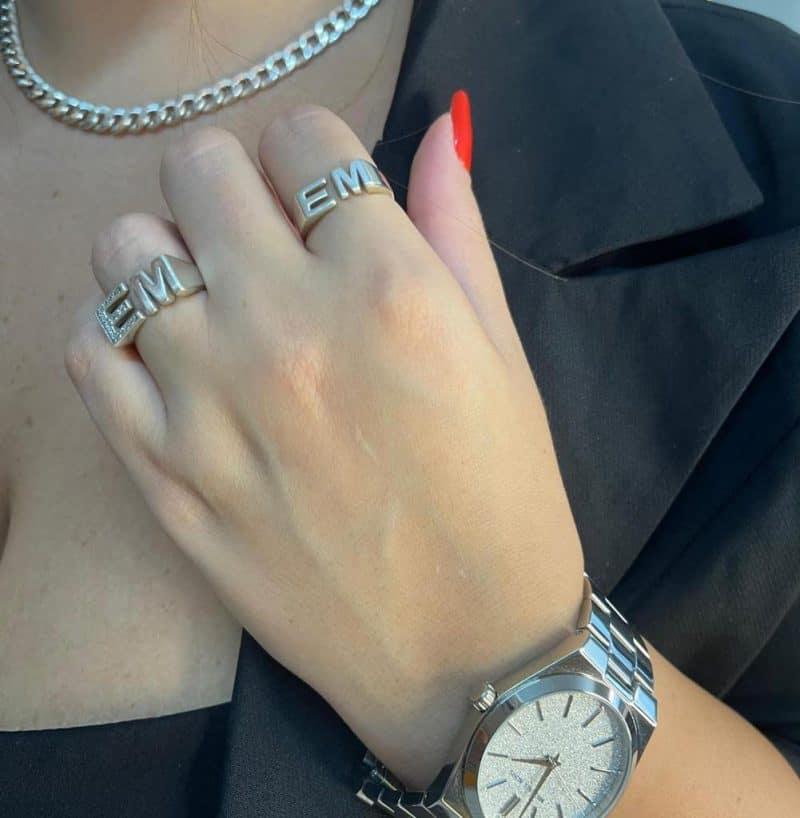 טבעת כסף 925 אותיות טוויסט טווין3