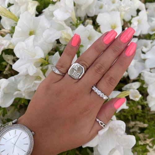 טבעת חותם אותיות כסף 925 חלק